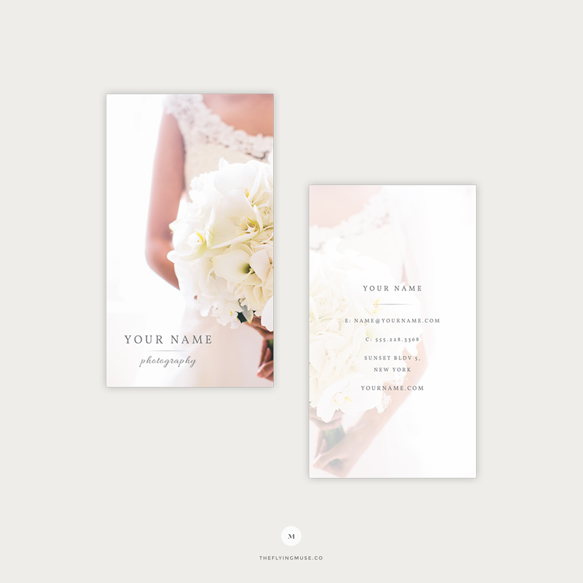Elegant Vertical Wedding Photography Business Cards - the Flying Muse
