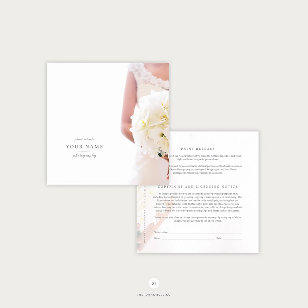 Print Release Form | Wedding Print Release Photography Licensing Form The Flying Muse