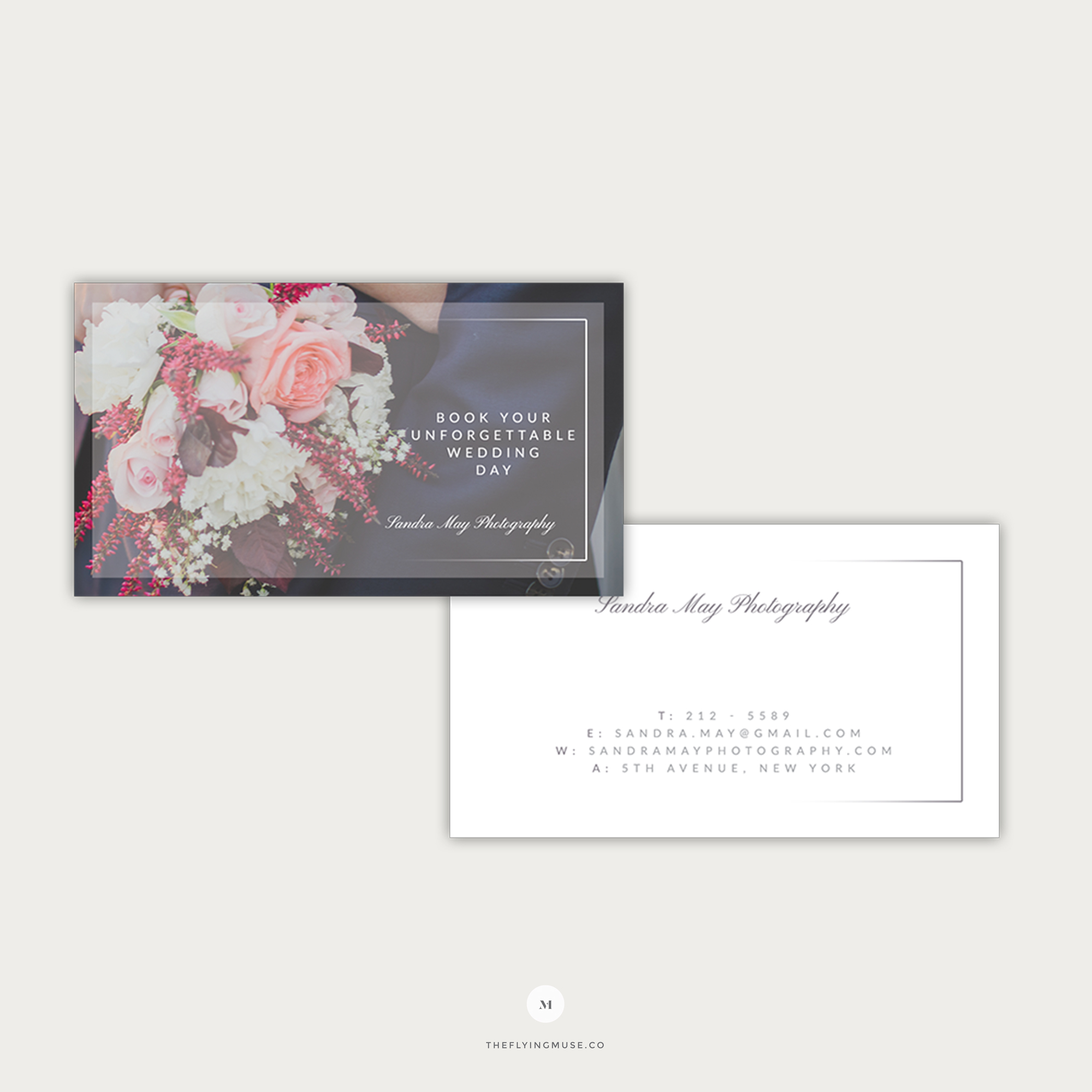 Elegant Wedding Business Cards Template for Photographers--BS004
