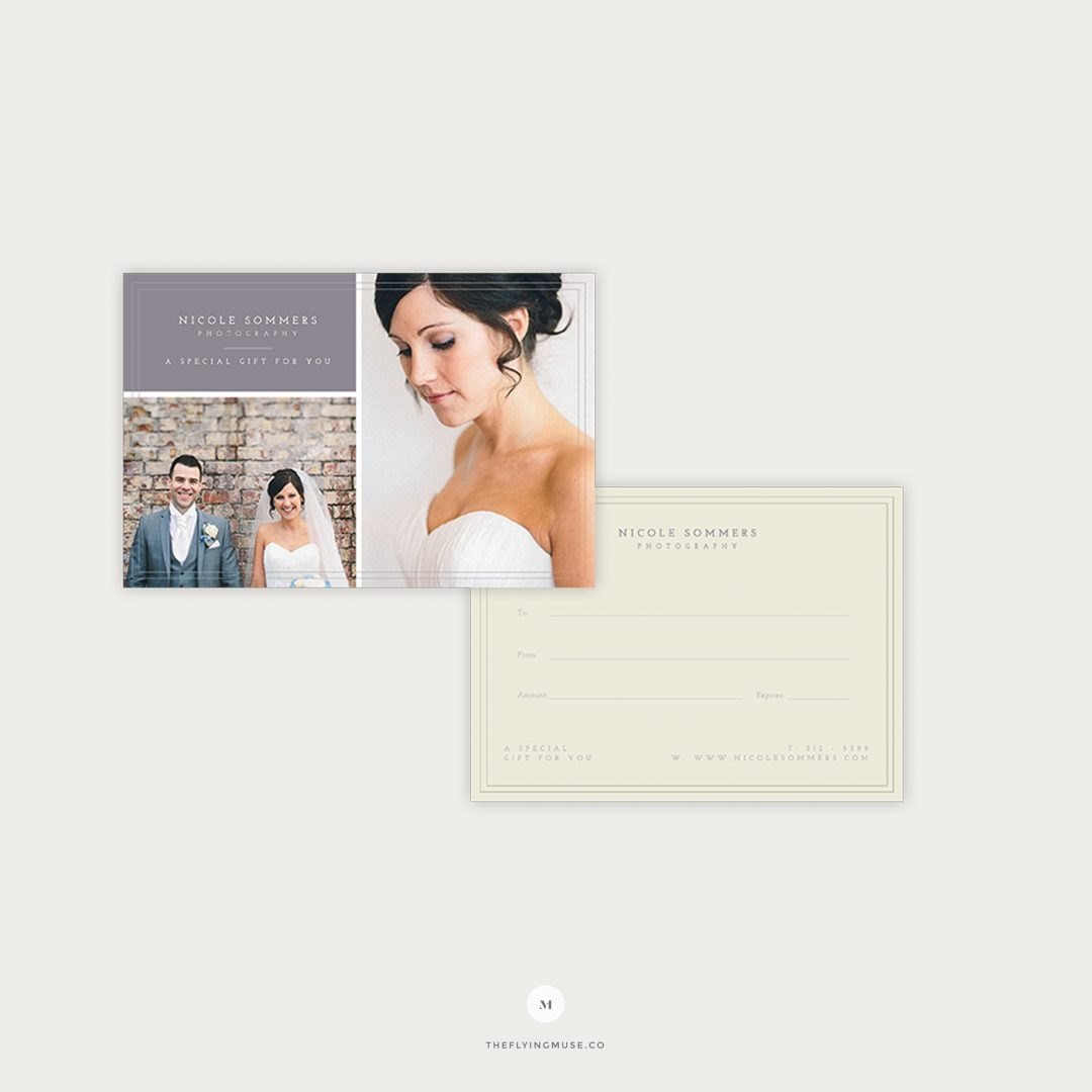 Gift Certificate Template for Wedding Photographers