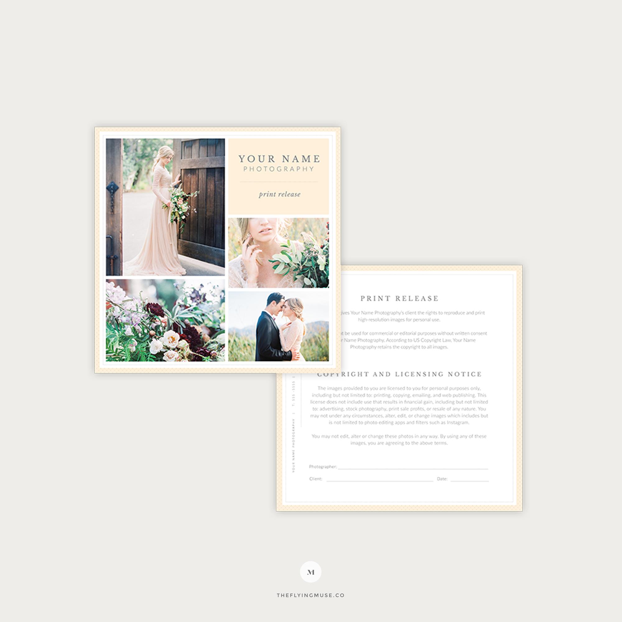 Wedding photography print release copyright form the for Wedding photo release form