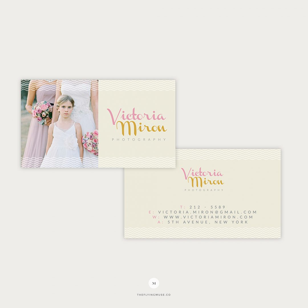 Vintage Style Business Cards Template Design for Wedding Photographers