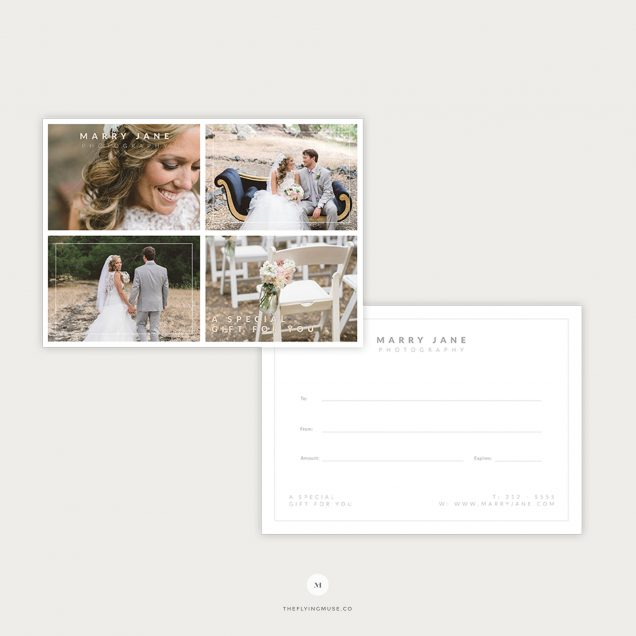 Photographer Gift Certificate Card Template