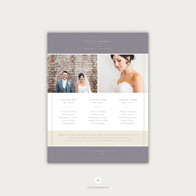 Photography Pricing Photoshop Template Design for Wedding Photographers