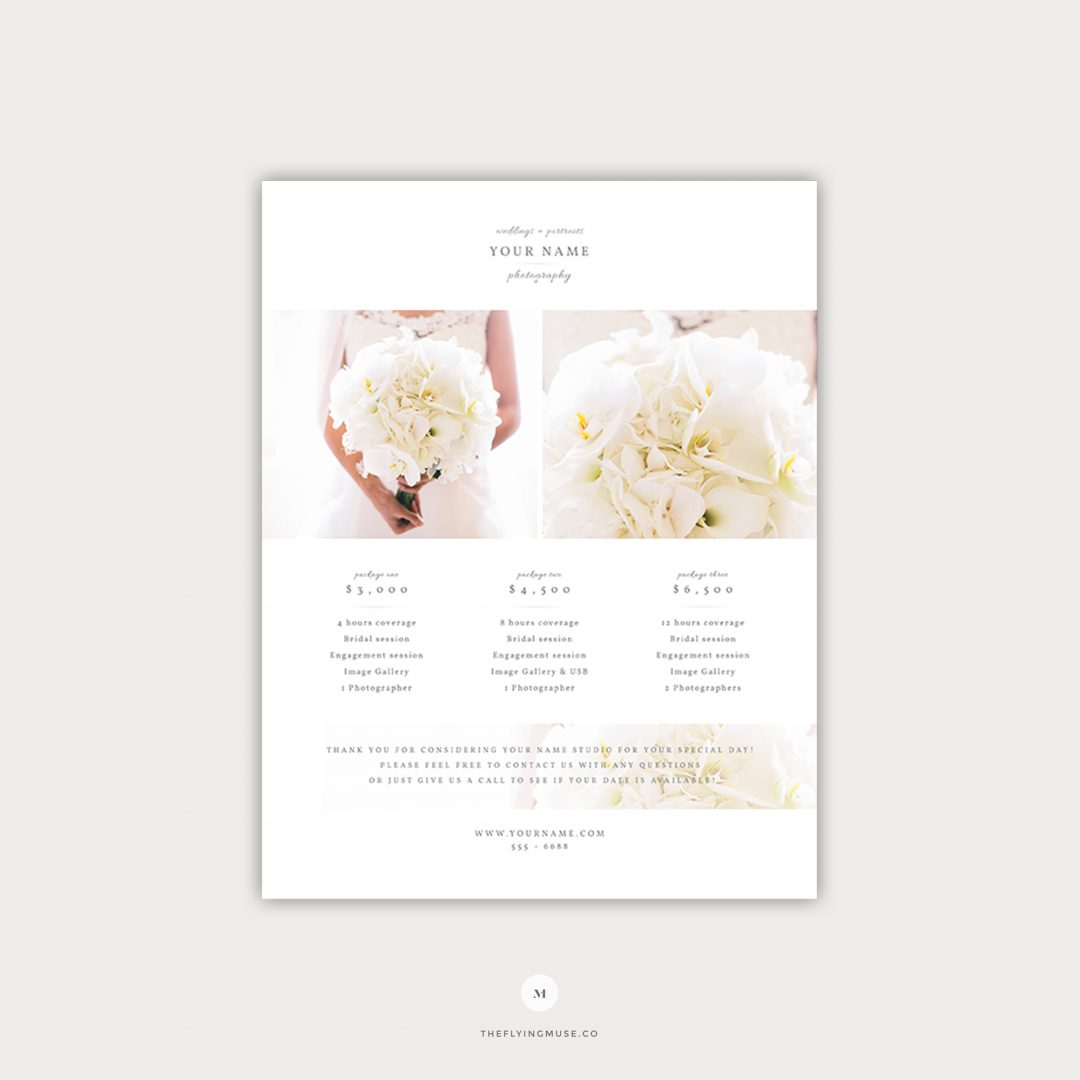 Wedding Photography Pricing Template Design