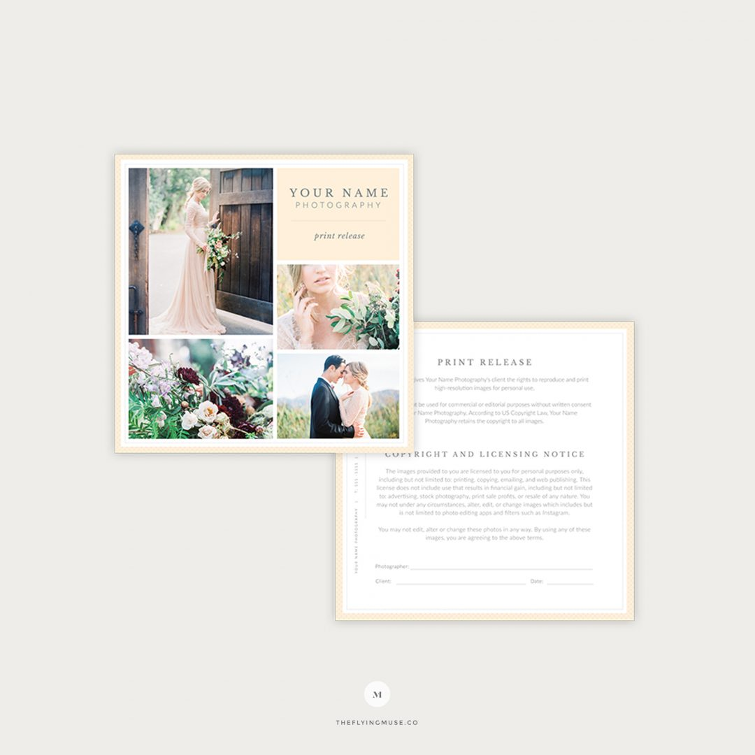Wedding Photography Print Release Form