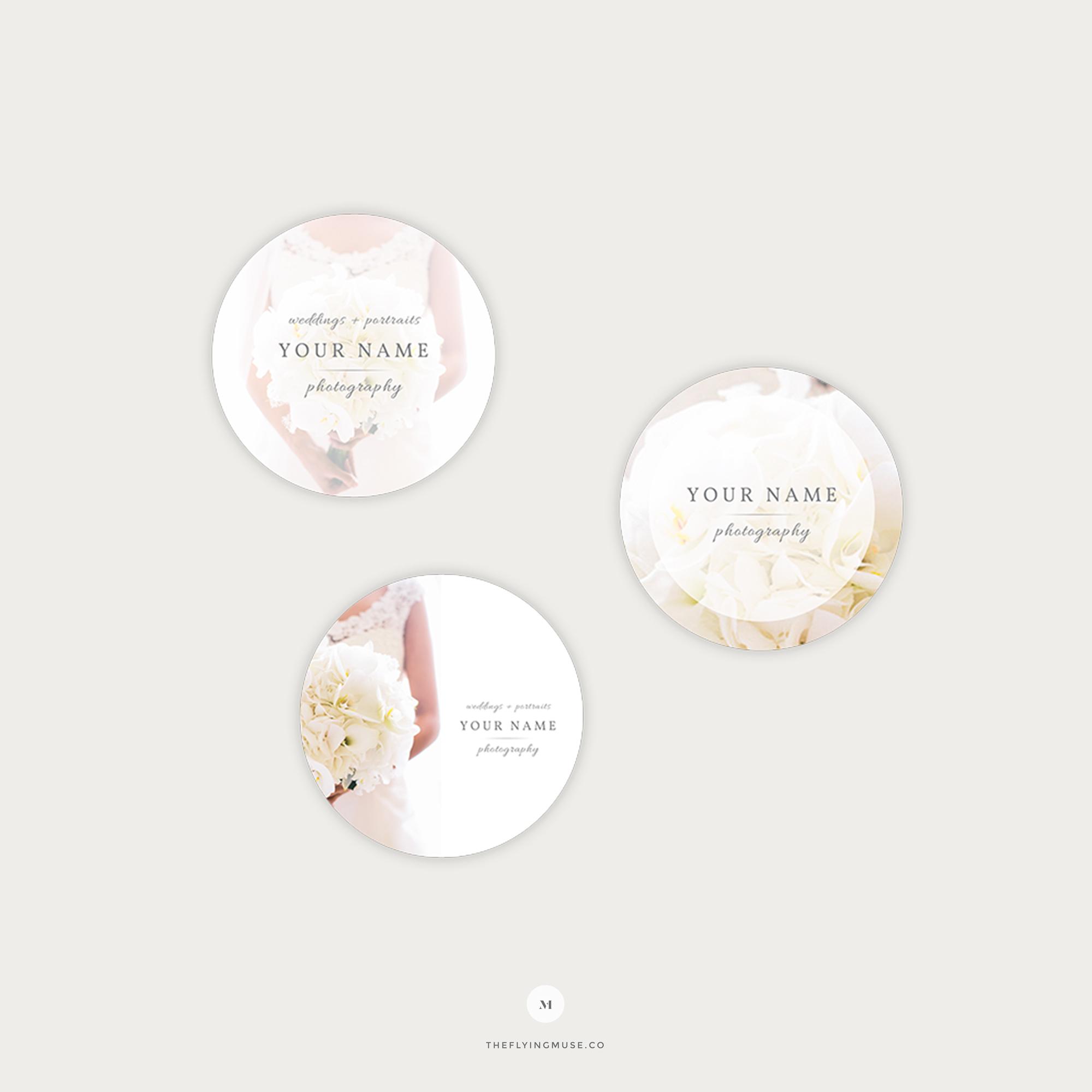 Elegant Round Sticker Templates For Wedding Photographers The