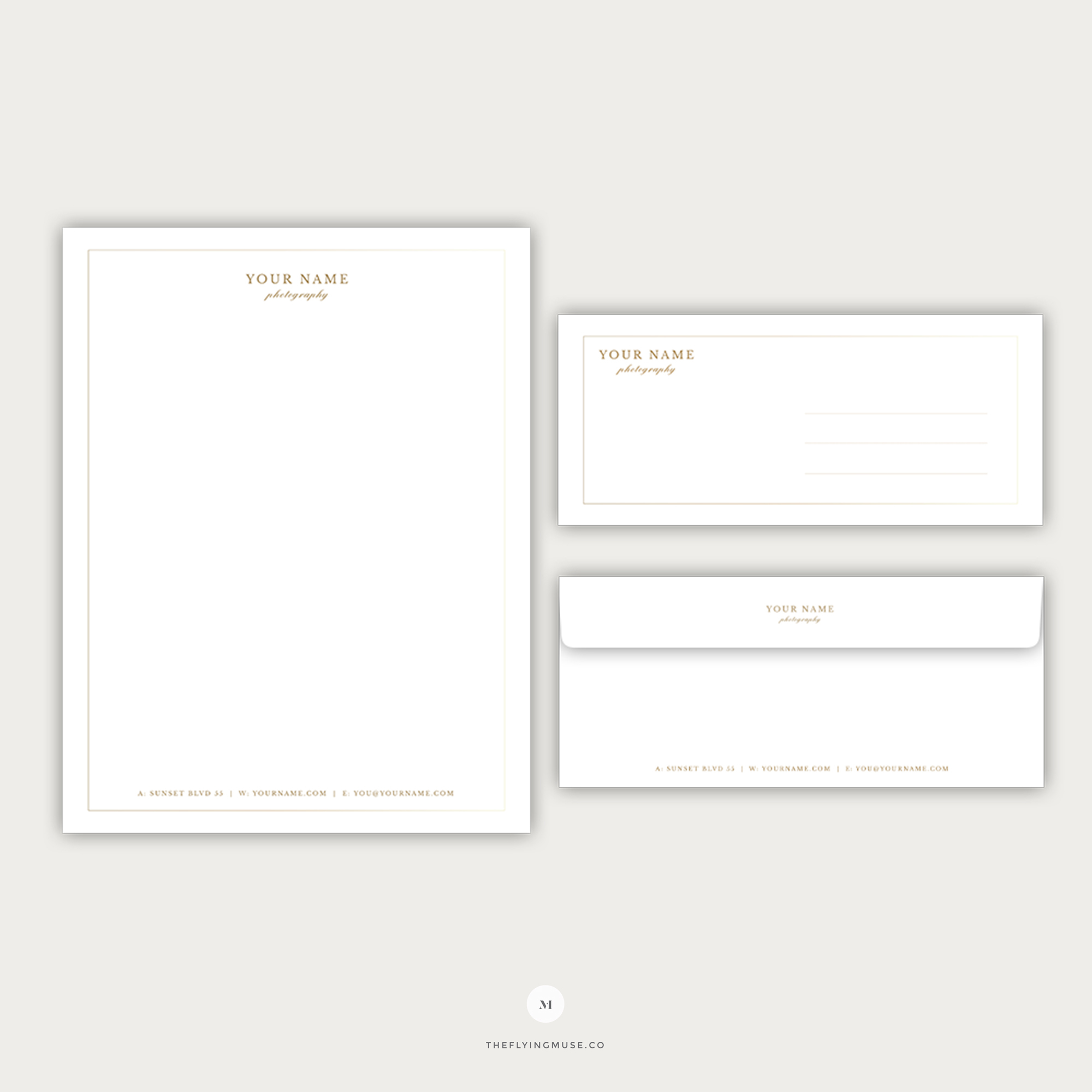 Photography Letterhead and Envelope Template Design
