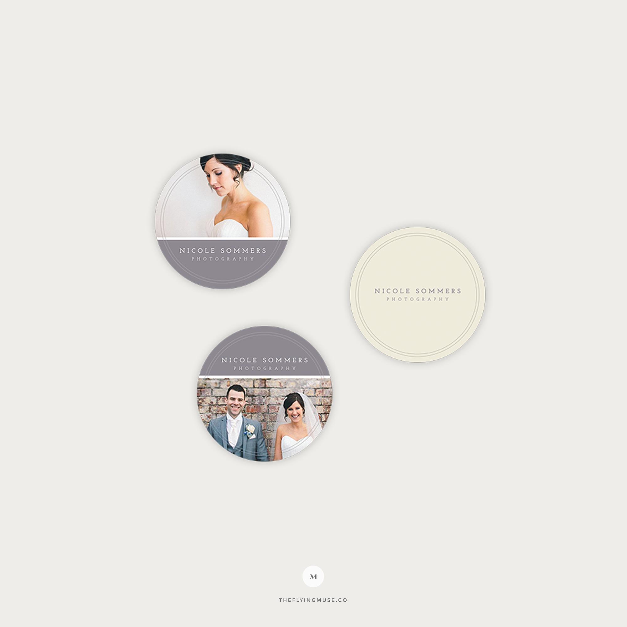 Round Sticker Photoshop Templates for Wedding Photographers