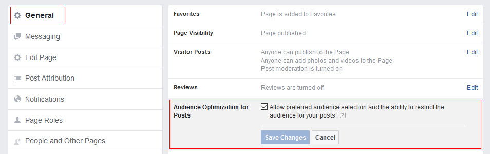 How to enable Facebook page posts targeting option