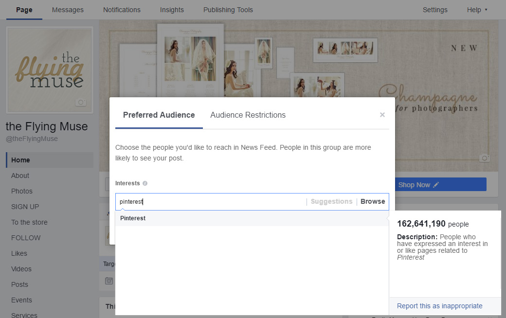 Facebook targeting by interest
