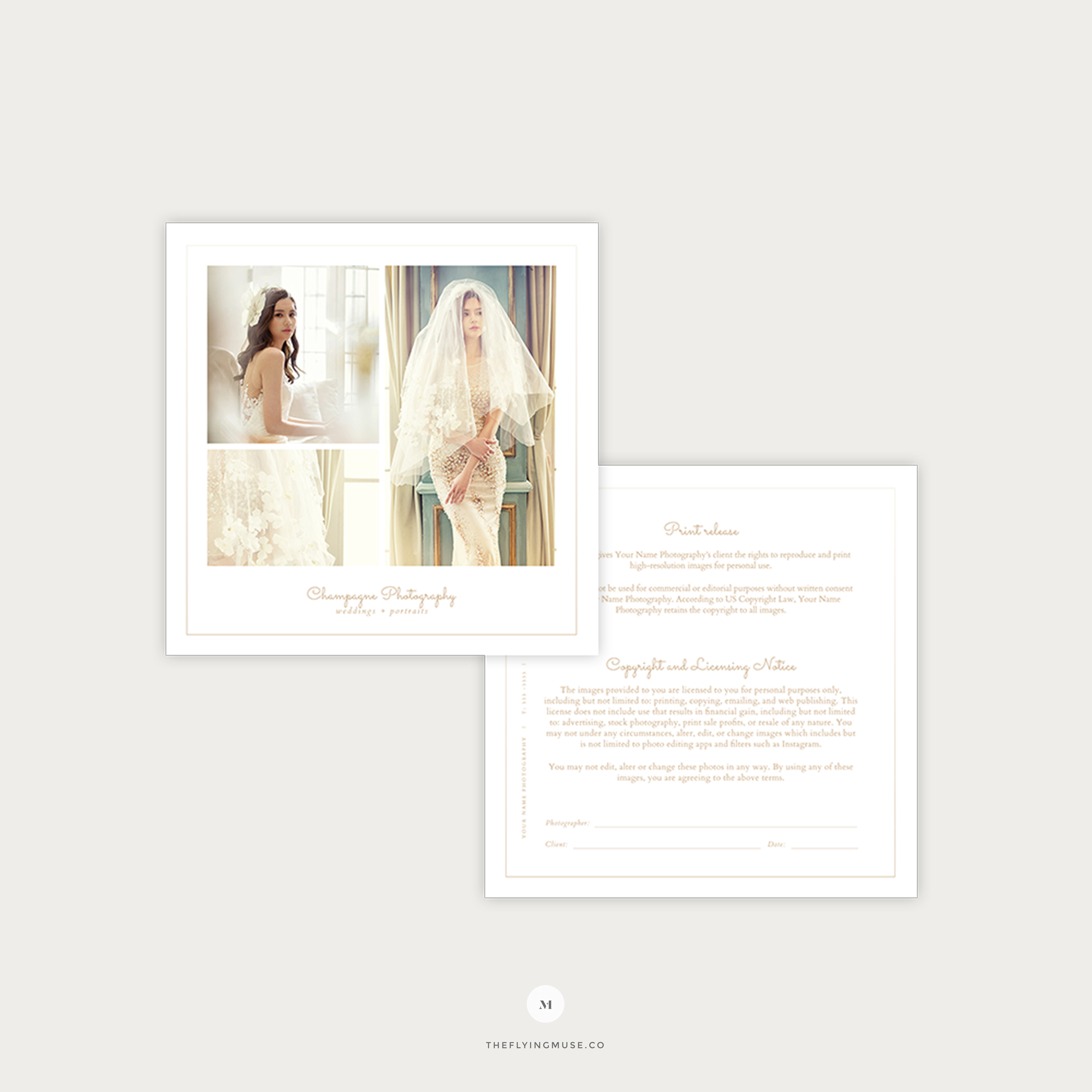 Minimal Wedding Photography Print Release Licensing Form Template Champagne Collection