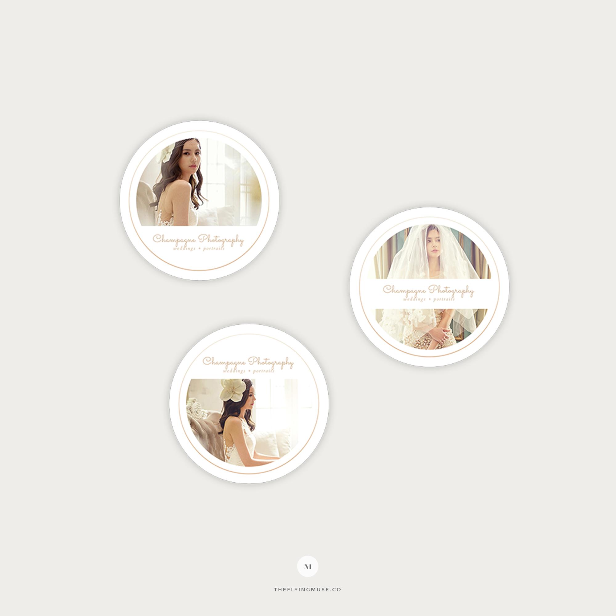 Minimal Round Sticker Templates for Wedding Photographers