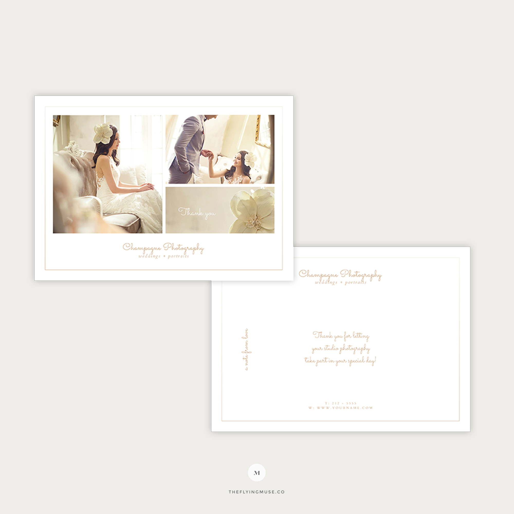 Minimal Thank You Card Template for Wedding Photographers