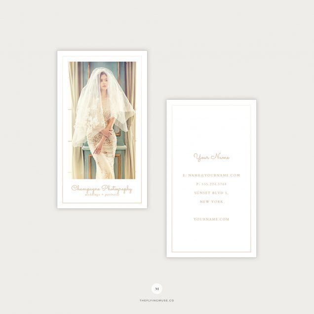 Photographer business card the flying muse minimal vertical wedding photography business cards champagne collection colourmoves