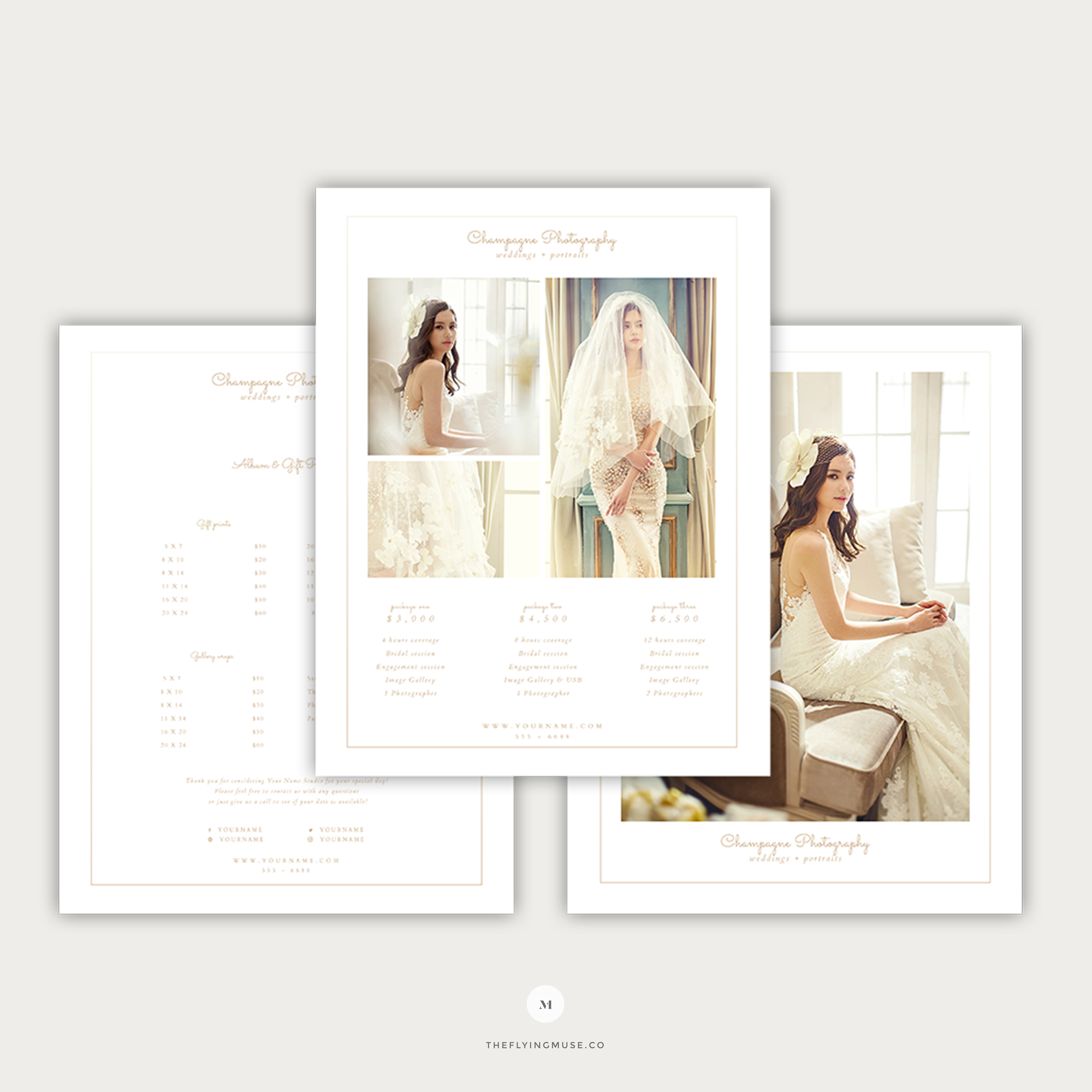 minimal wedding photography pricing guide template champagne collection the flying muse. Black Bedroom Furniture Sets. Home Design Ideas