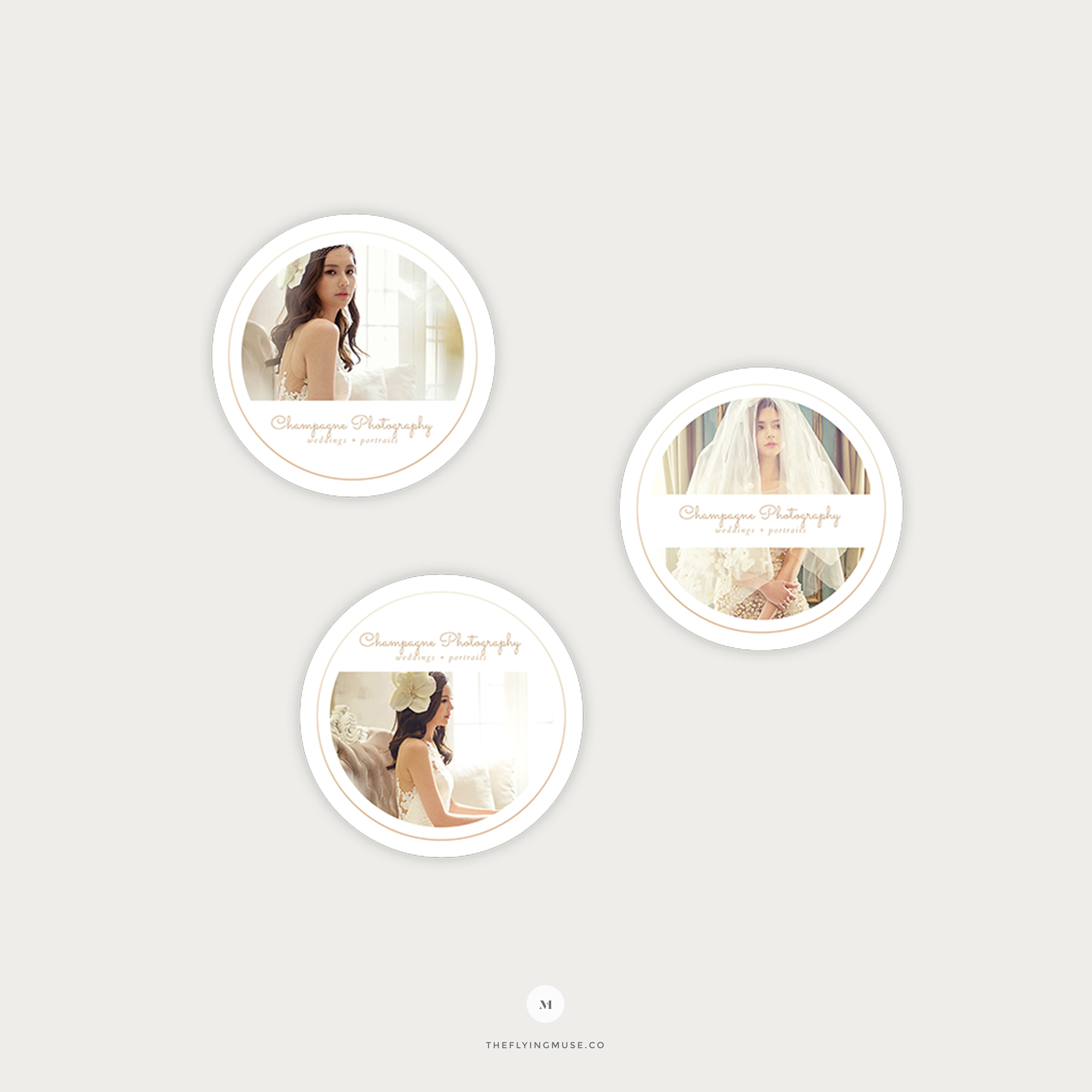 Minimal Round Sticker Templates for Wedding Photographers