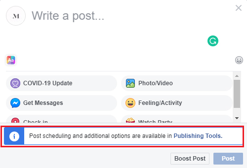 Facebook Business Page Publishing Tools
