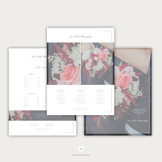 Wedding Pricing Guide Template Design for Photographers