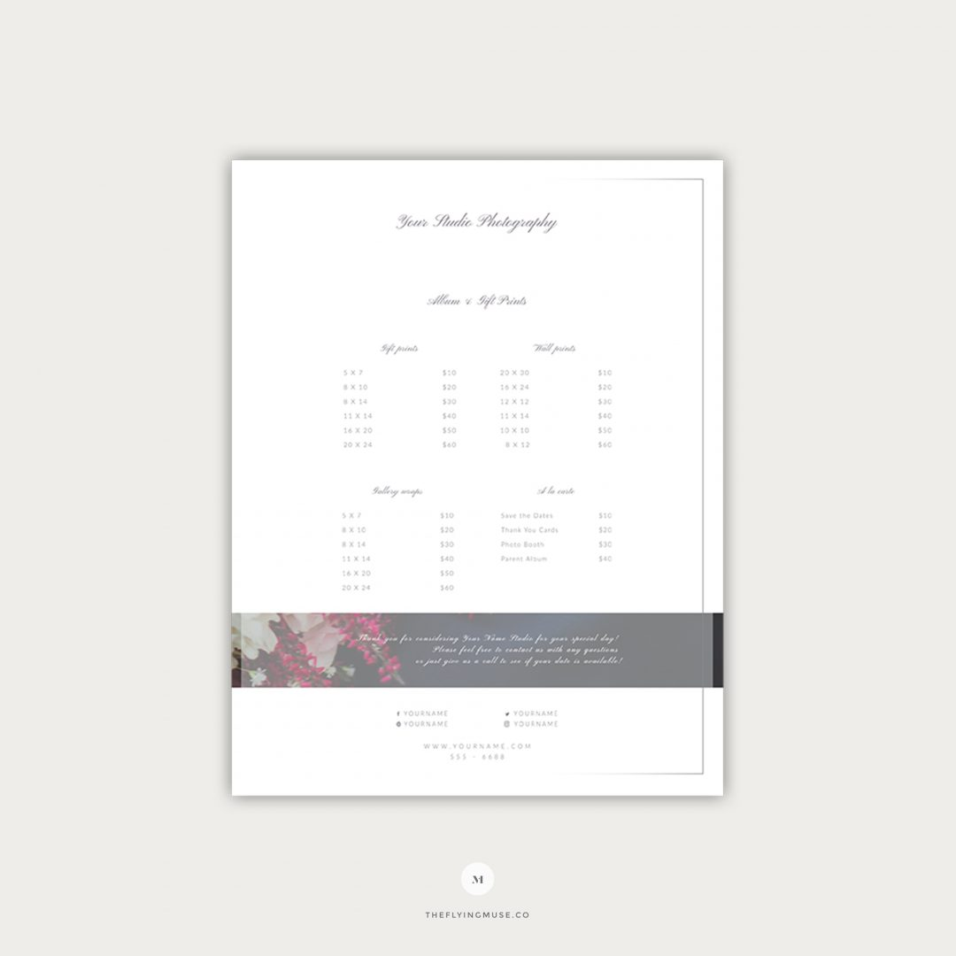 Wedding Pricing Guide Template Design Page 3 PG004