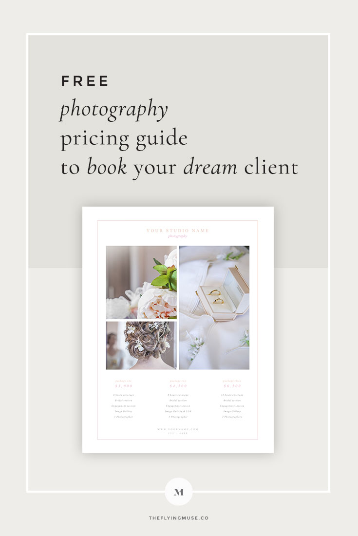 Free Pricing Guide Template Design For Wedding Photographers The - Free pricing template for photographers