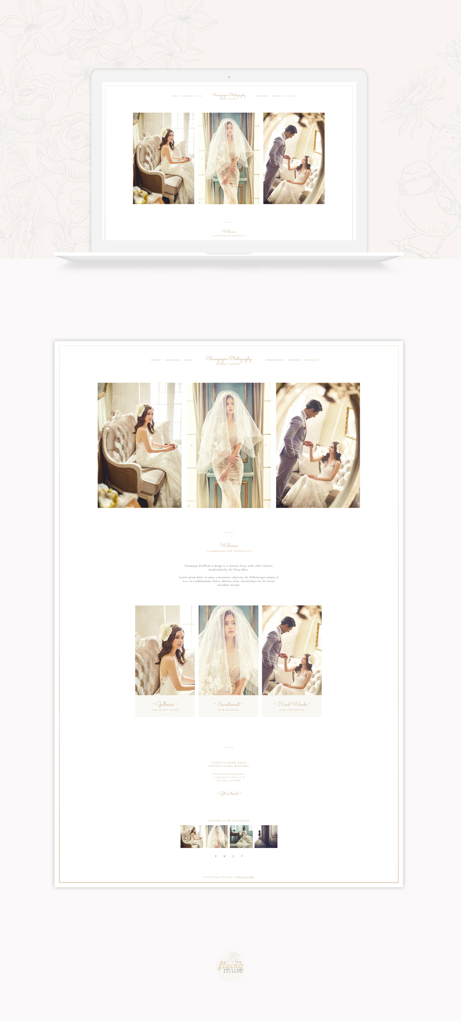 Champagne - A minimal ProPhoto 6 design for wedding photographers
