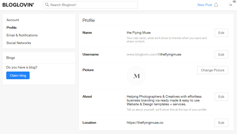 Add your Blog Profile Details on Bloglovin