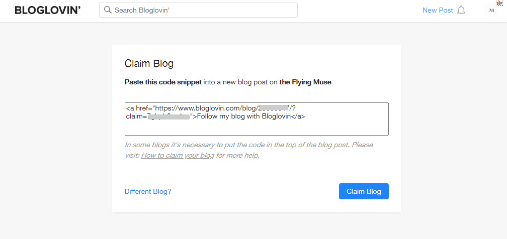 Claim your Blog on Bloglovin HTML code