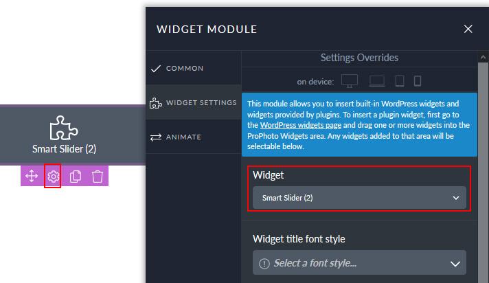 Select Smart slider for ProPhoto widget module
