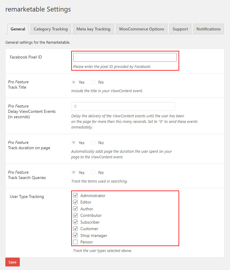 WordPress Facebook Pixel Plugin Settings